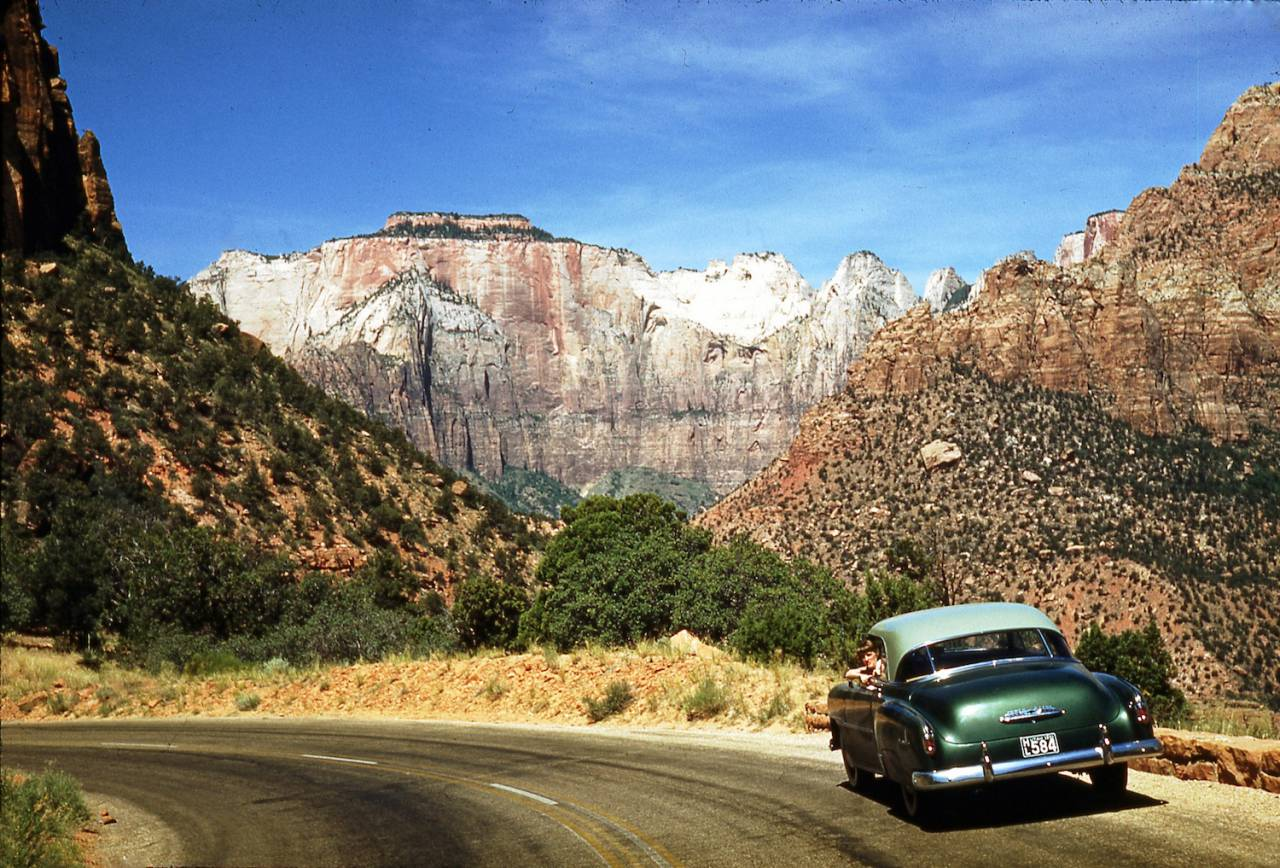 My father's '51 Chevy Bel Aire. His girlfriend is looking out of the window. They are looking towards The Sentinel from Zion Park Blvd.