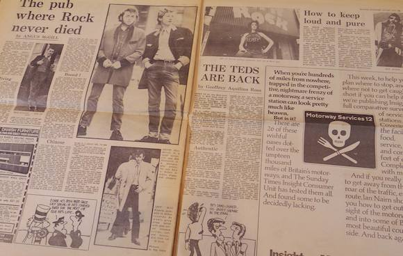 Angus McGill and Geoffrey Aqulina Ross were among the journalists who contributed to the ES special. I love the juxtaposition with the knife and fork/skull and crossbones logo promoting a Sunday Times feature by the architectural writer Ian Nairn, whose work has recently undergone critical appraisal