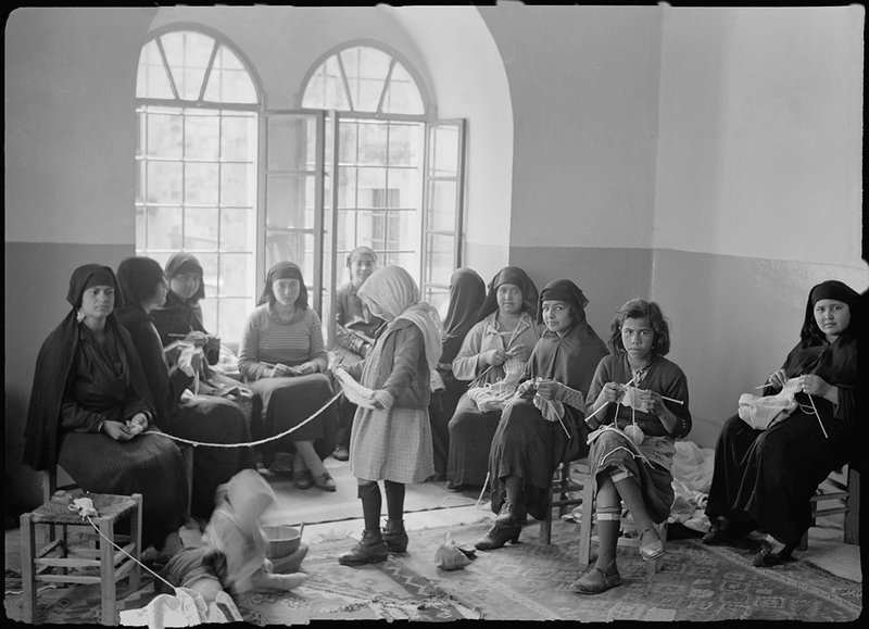 Women's Institute, Jerusalem, Arab women knitting in the Old City, c. 1939.