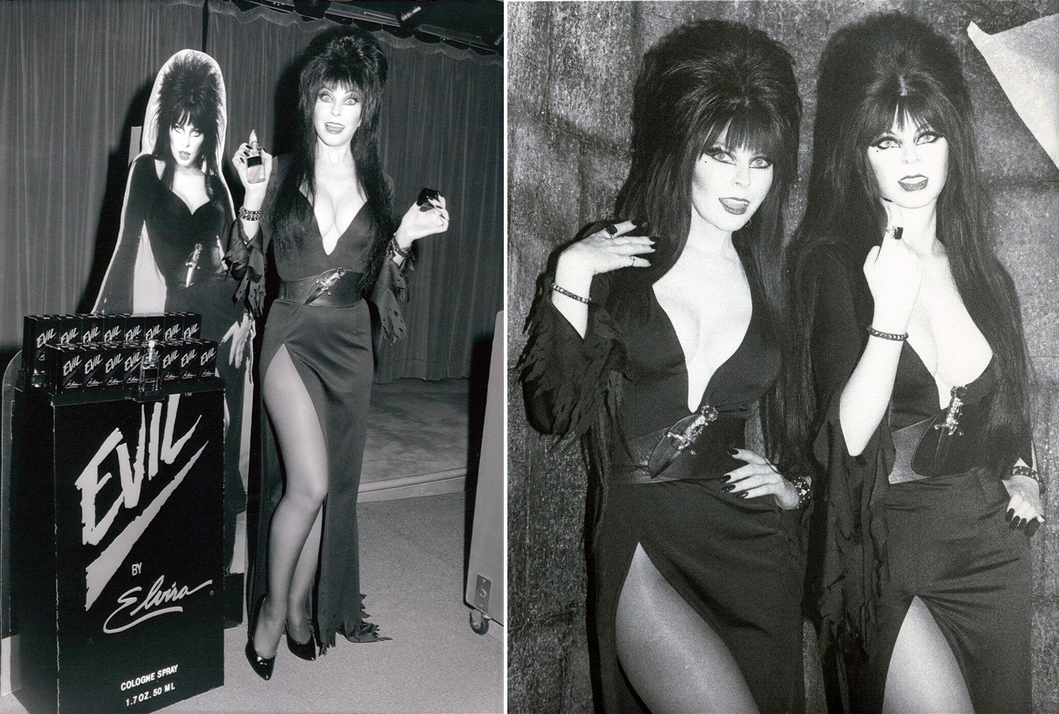 "Elvira's perfume brand ""Evil"" and her likeness at the wax museum"