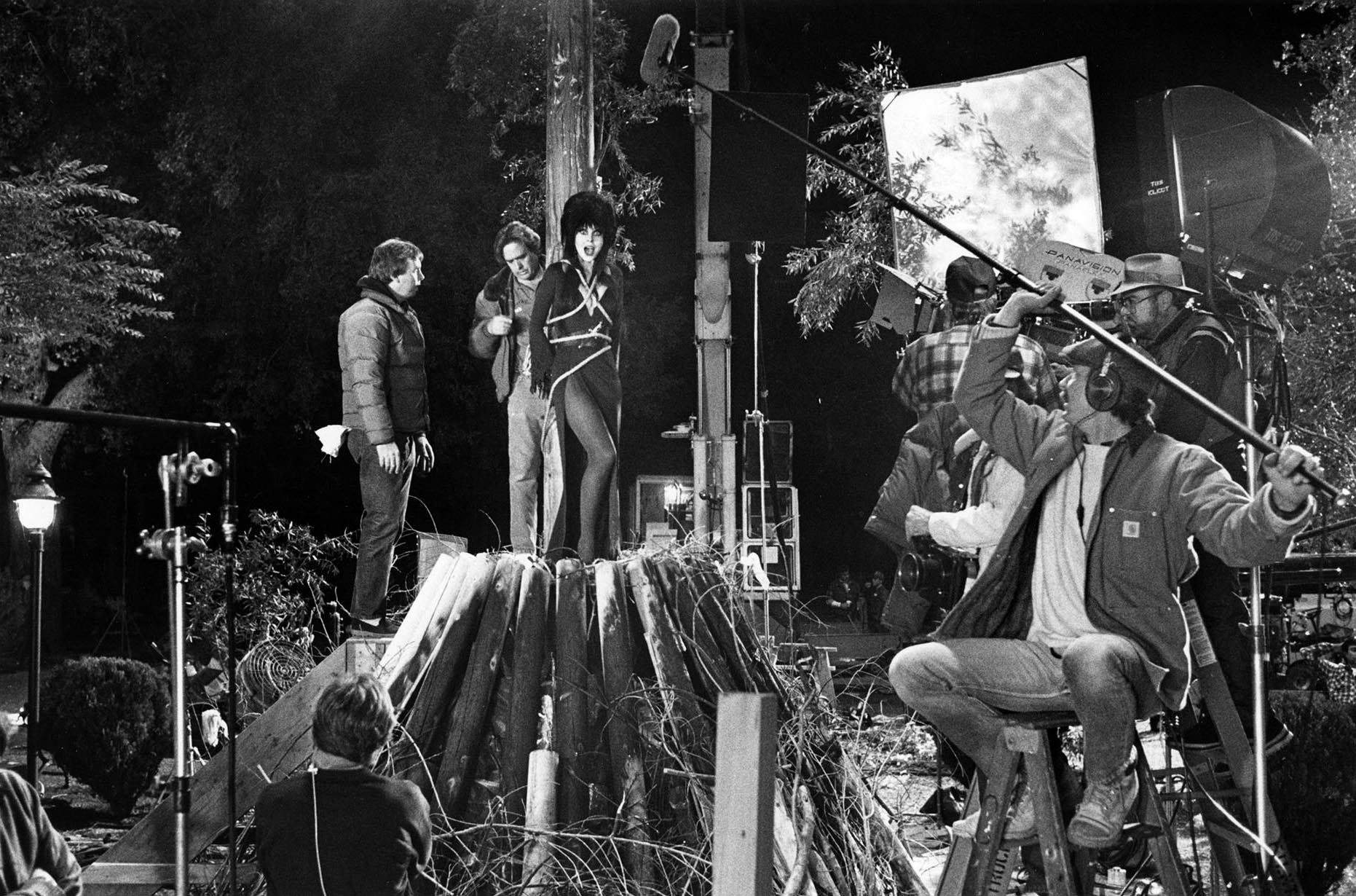 "Cassandra Peterson as Elvira tied to stake in scene from her movie ""Evira: Mistress of the Dark."" This photo was published in the March 20, 1988 Los Angeles Times."