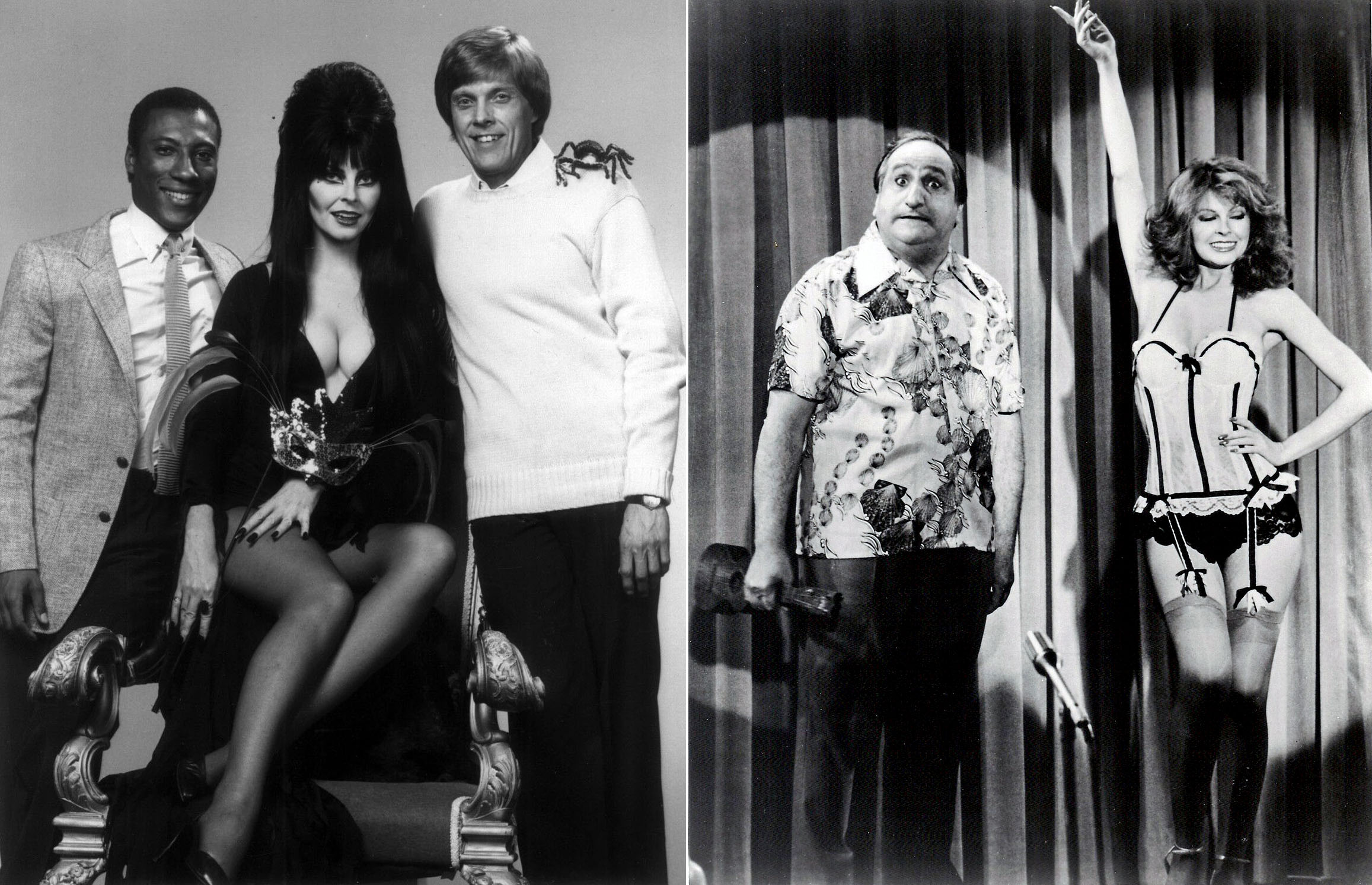 Elvira on Real People (L) and Happy Days (R)
