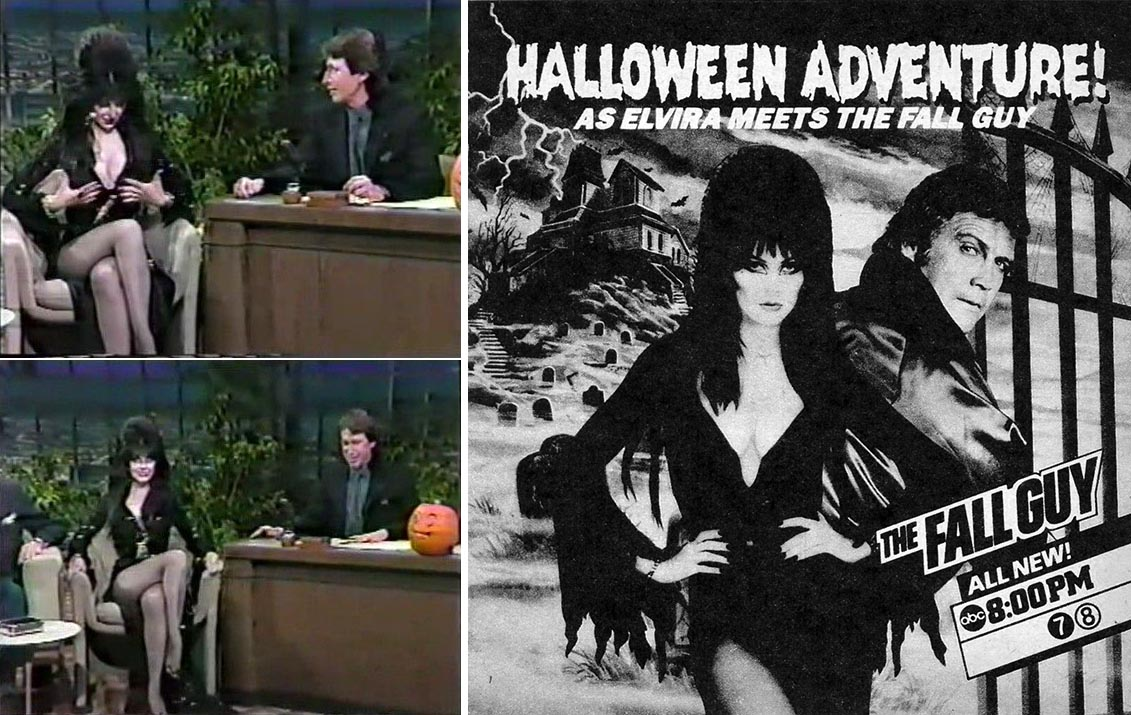 Elvira on The Tonight Show (with guest host David Brenner) and The Fall Guy