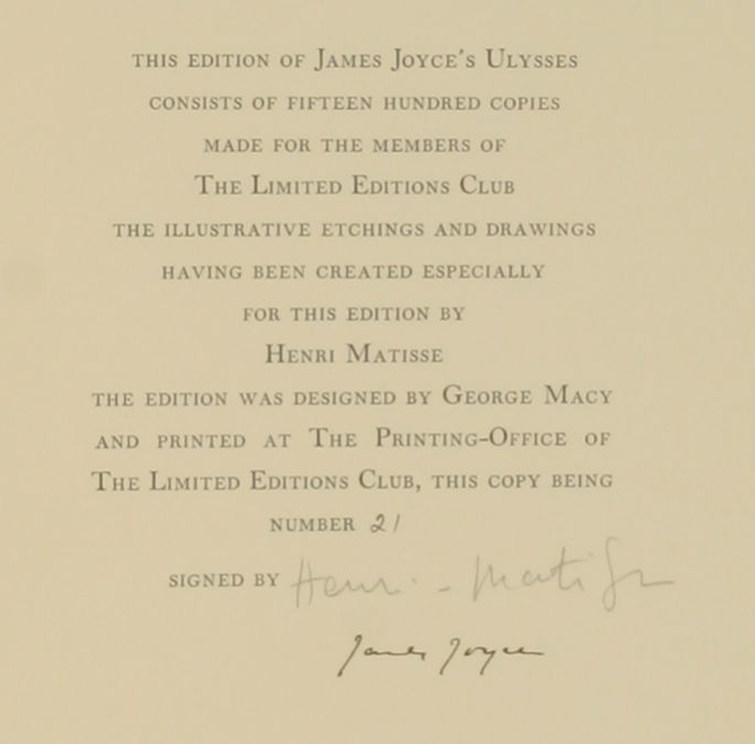 Henri Matisse James Joyce Ulysses book 1935