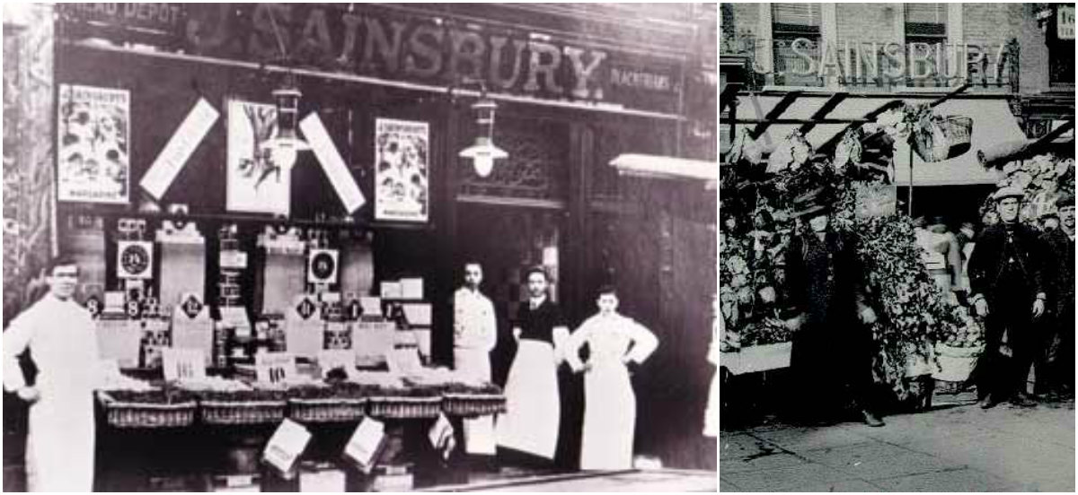 In 1873 the Sainsbury family moved to live above their Kentish Town shop at 159 Queen's Crescent . It began as a dairy shop, selling butter, milk, eggs and cheese. Customers could even buy milk when the shop was closed from a slot machine known as a 'mechanical cow' in the doorway. The shop did well and John James opened another branch in 1875 at 151 Queen's Crescent. This new shop specialised in bacon and ham. Trade continued to grow and in 1884, a third branch was added at number 98.