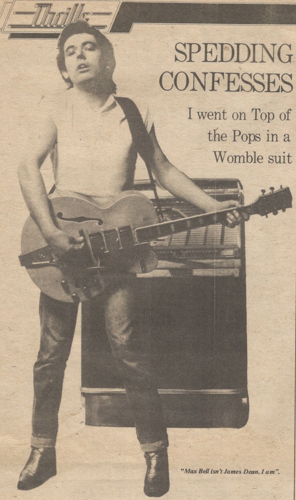 Let It Rock - Chris Spedding NME June 28 1975 //Spedding in Let It Rock flyaway collar shirt, jeans and boots, NME, July 1975. Photographer uncredited. Max Bell was a young contributor to the paper/
