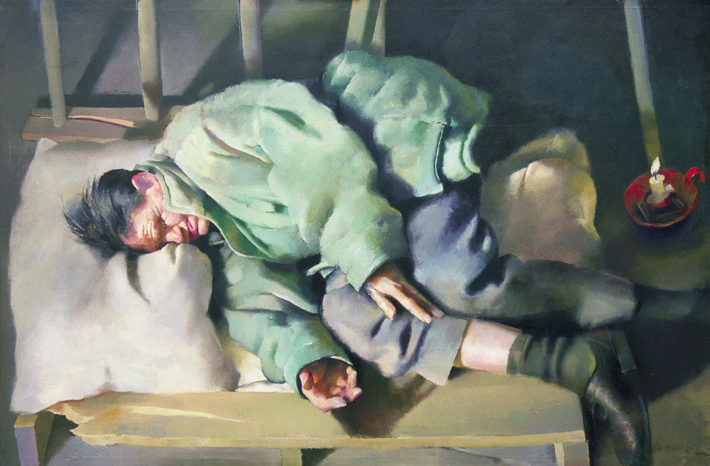 Cider Ryder in the Pram Factory. 1996 97 x 146 cm. Oil on sail cloth. This painting of vagrant Les 'Cider' Ryder is the lead image for the 'Human, All Too Human' show. It formed part of a small exhibition shown at Lenkiewicz's Annexe gallery revisiting the theme of Vagrancy, which the artist explored in the 1973 Project of that name.