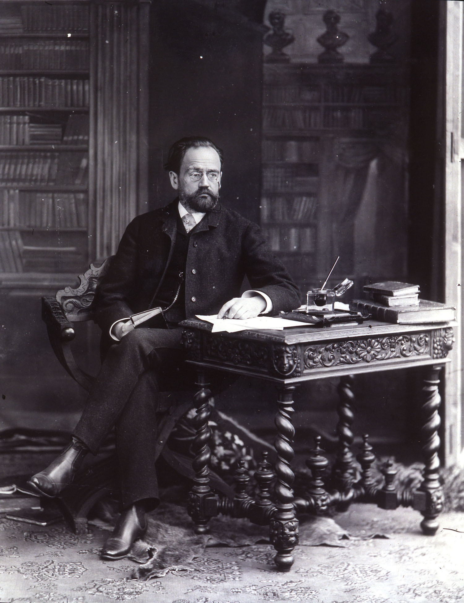 Emile ZOLA at his desk, photograph, c.1885 probably taken by Paul Nadar, son of Felix (Nadar)