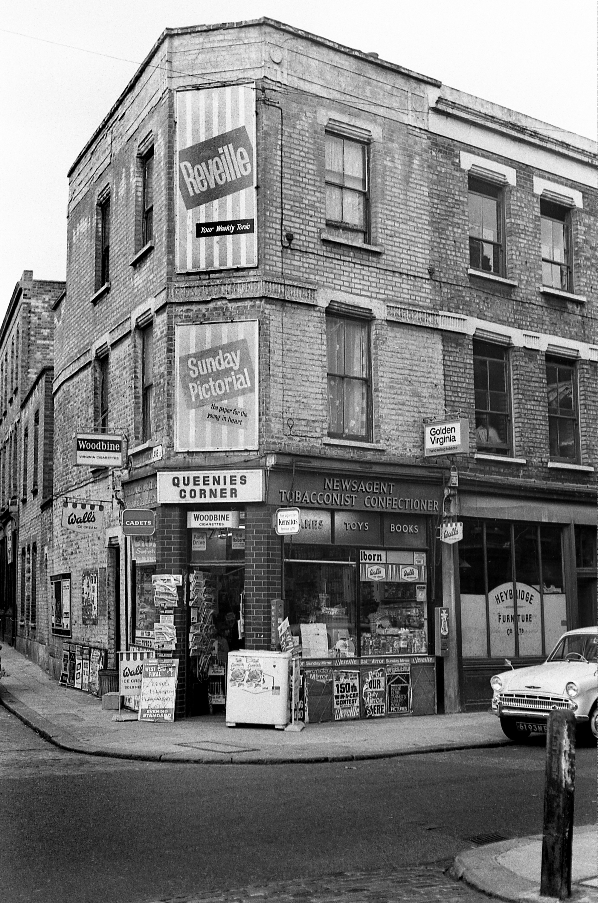 Brick Lane and Virginia Road (I think) London E2. 1966