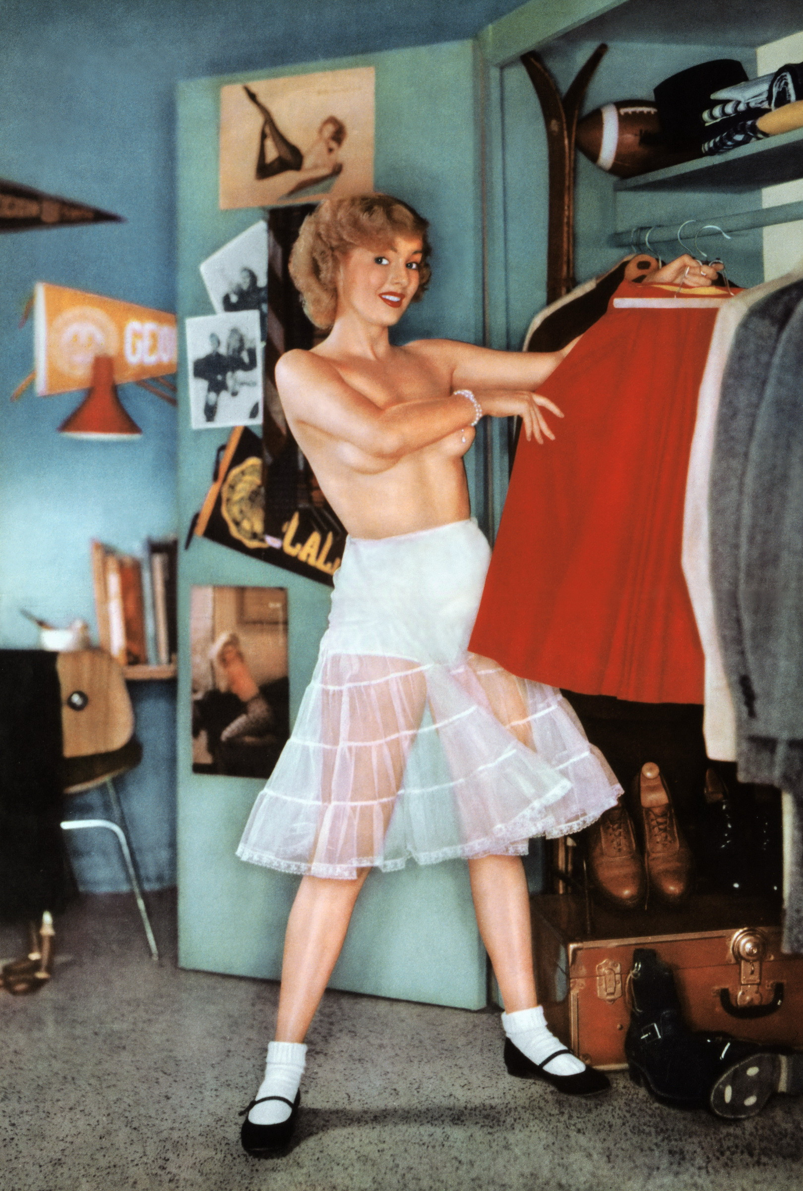 Jean Moorehead as Miss October in a 1955 issue of Playboy