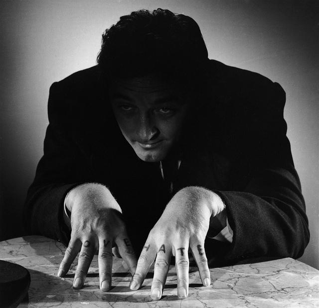 Portrait of Robert Mitchum for The Night of the hunter