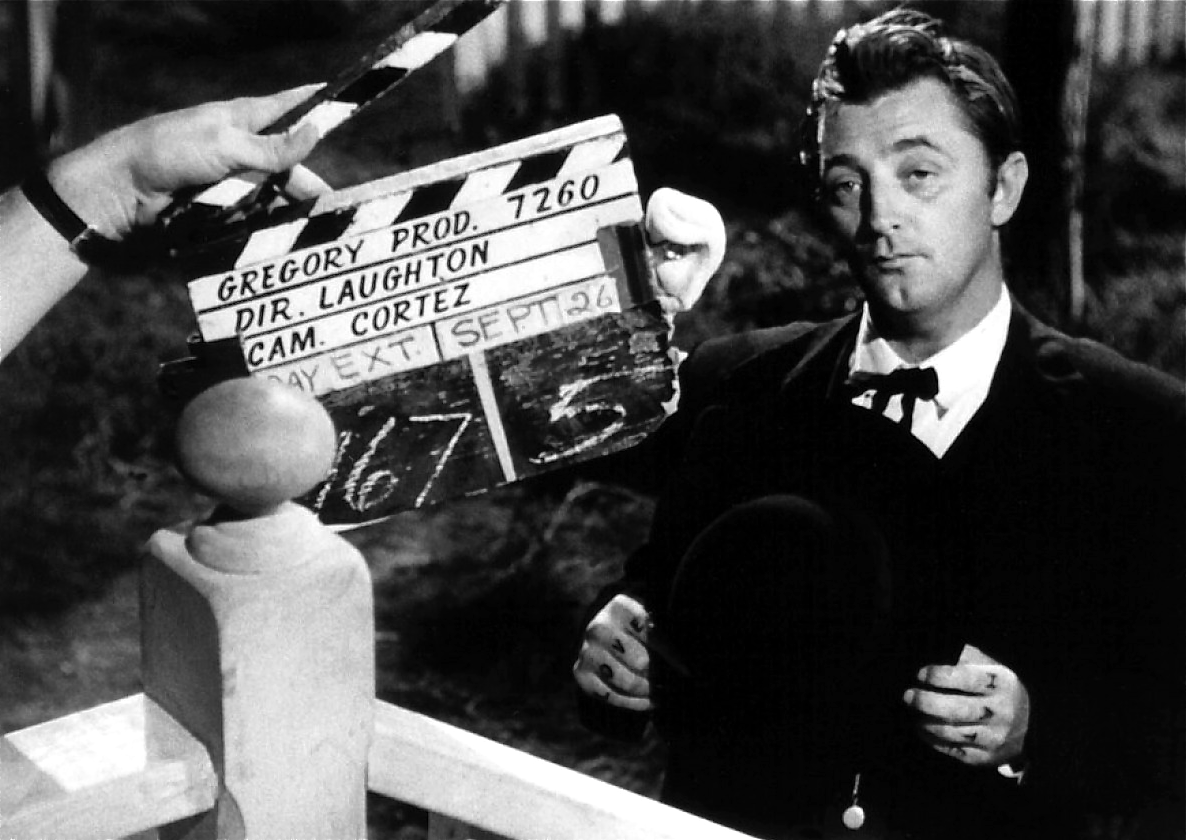Robert Mitchum on the set of The Night of the hunter