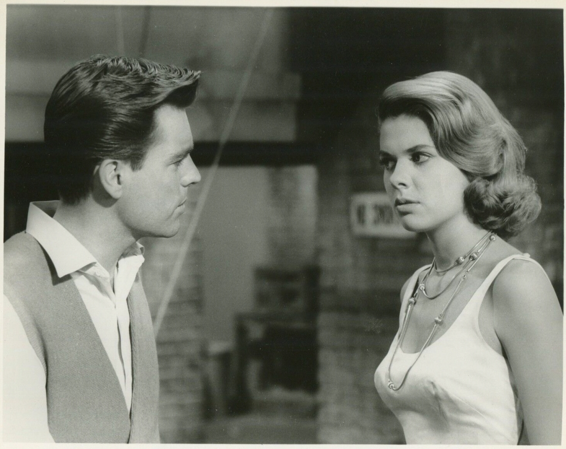 Robert Wagner and Nina Shipman in Say One for Me, released in 1959