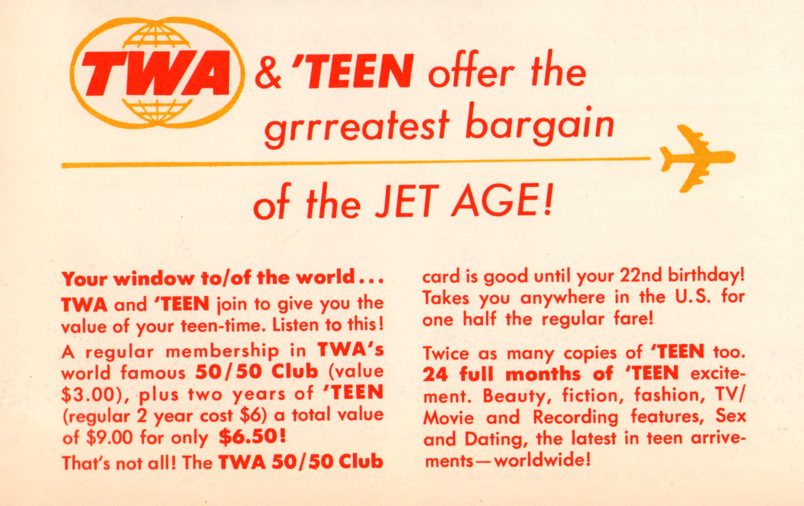 Teen magazine subscription 1968