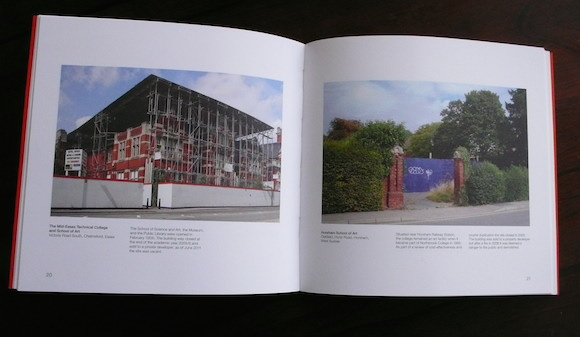 Left: The Mid-Essex Technical College and School Of Art, Chelmsford, Essex. Sold to a private developer in 2006 and vacant since 2011. Right: Site of Horsham School Of Art, West Sussex
