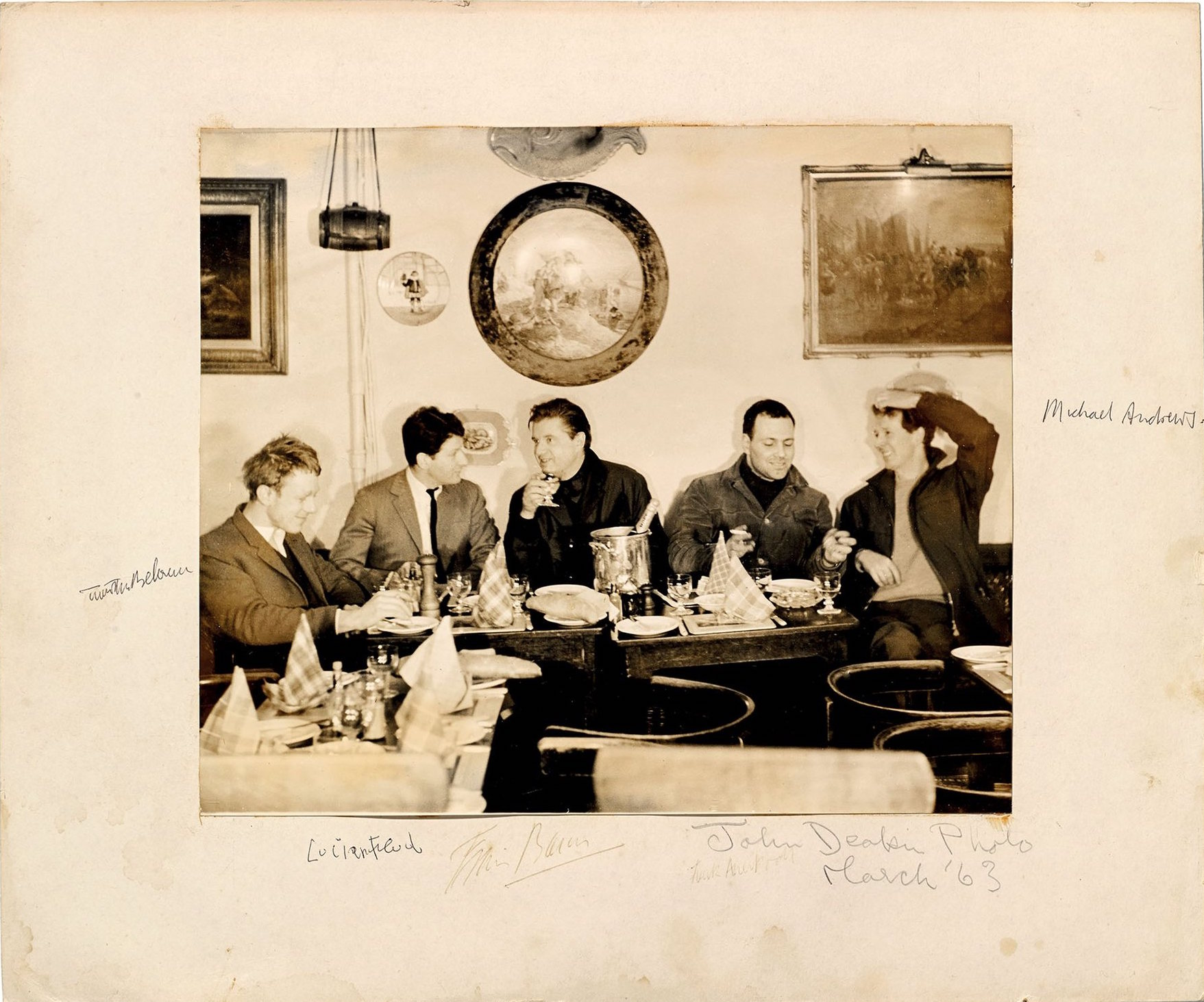 Timothy Behrens, Lucian Freud, Francis Bacon, Frank Auerbach and Michael Andrews at Wheeler's, Old Compton Street, 1963. Photograph: copyright 2014 John Deakin Archive
