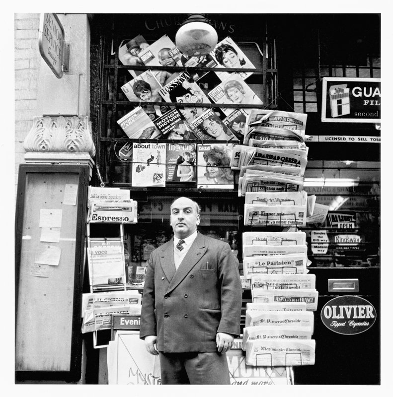 Tony Abbro of Abbro & Varriano, newsagents, 48 Old Compton Street, Soho, 1961. (c) John Deakin, The John Deakin Archive 2013