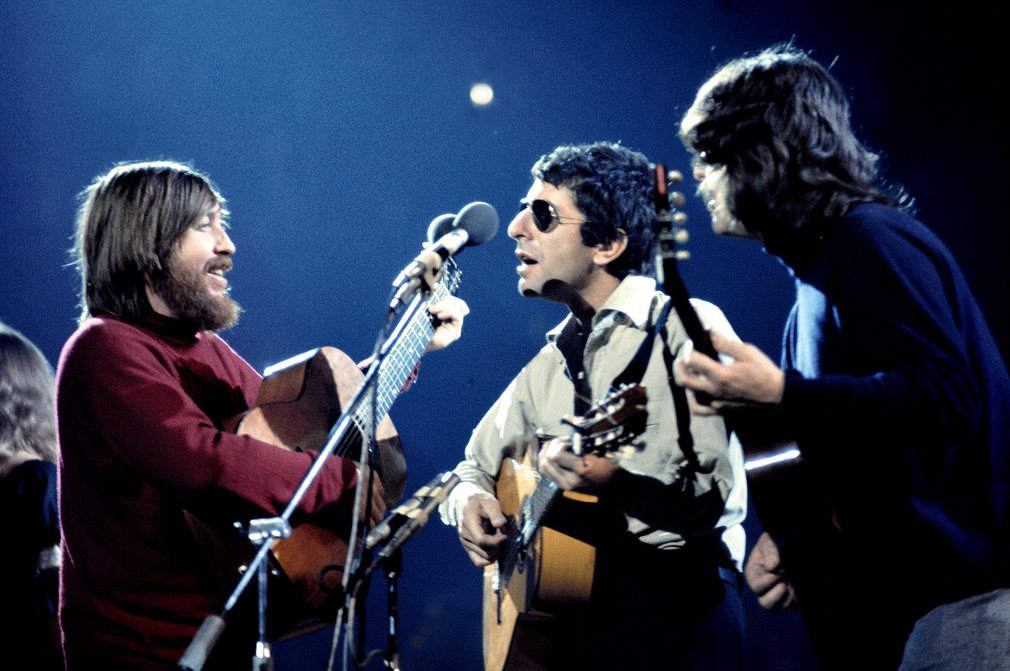 Leonard Cohen With Bob Johnston and Ron Cornelius in concert at London's Royal Albert Hall in 1973.