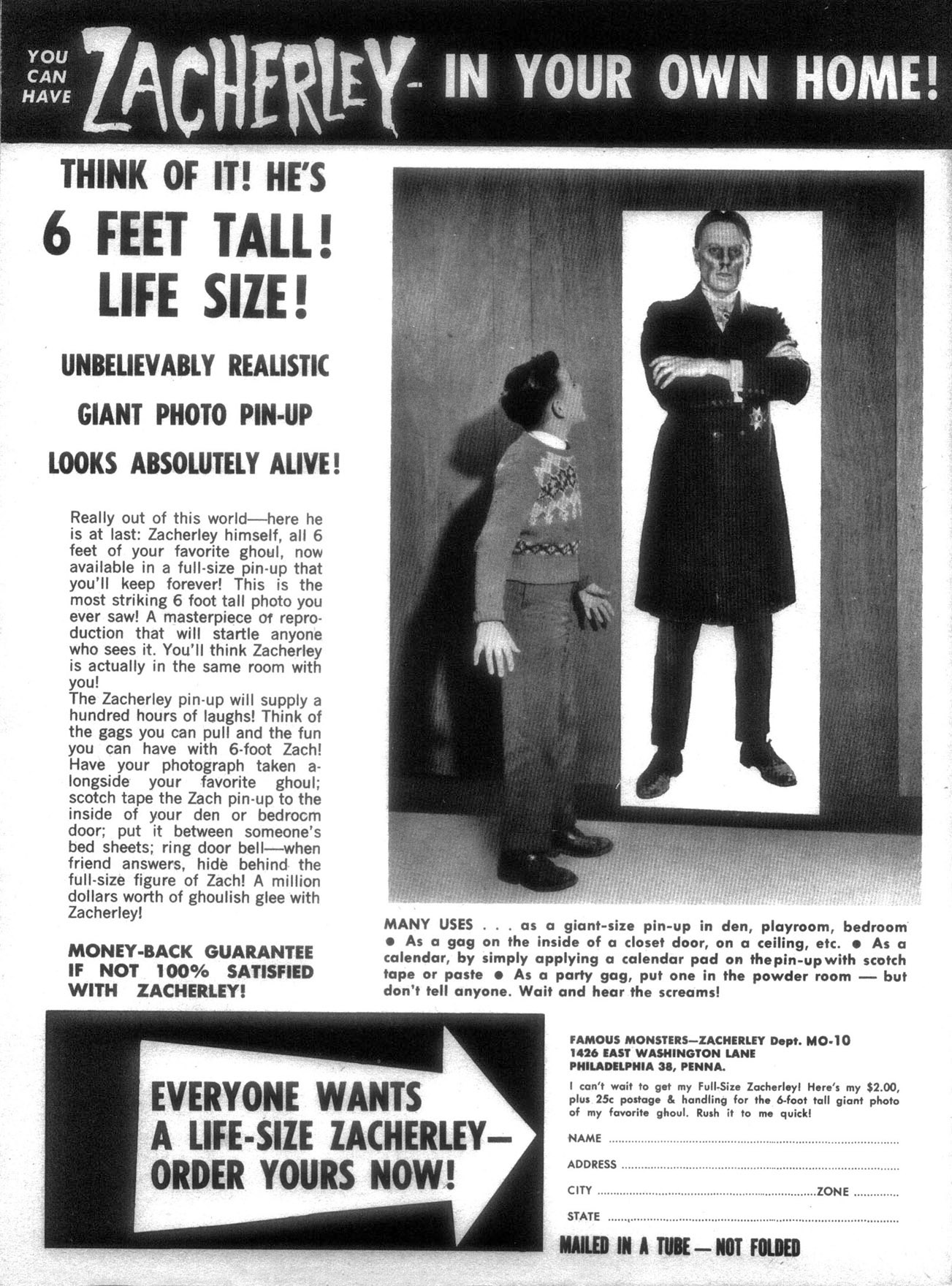 Zacherly vintage monster magazine advert