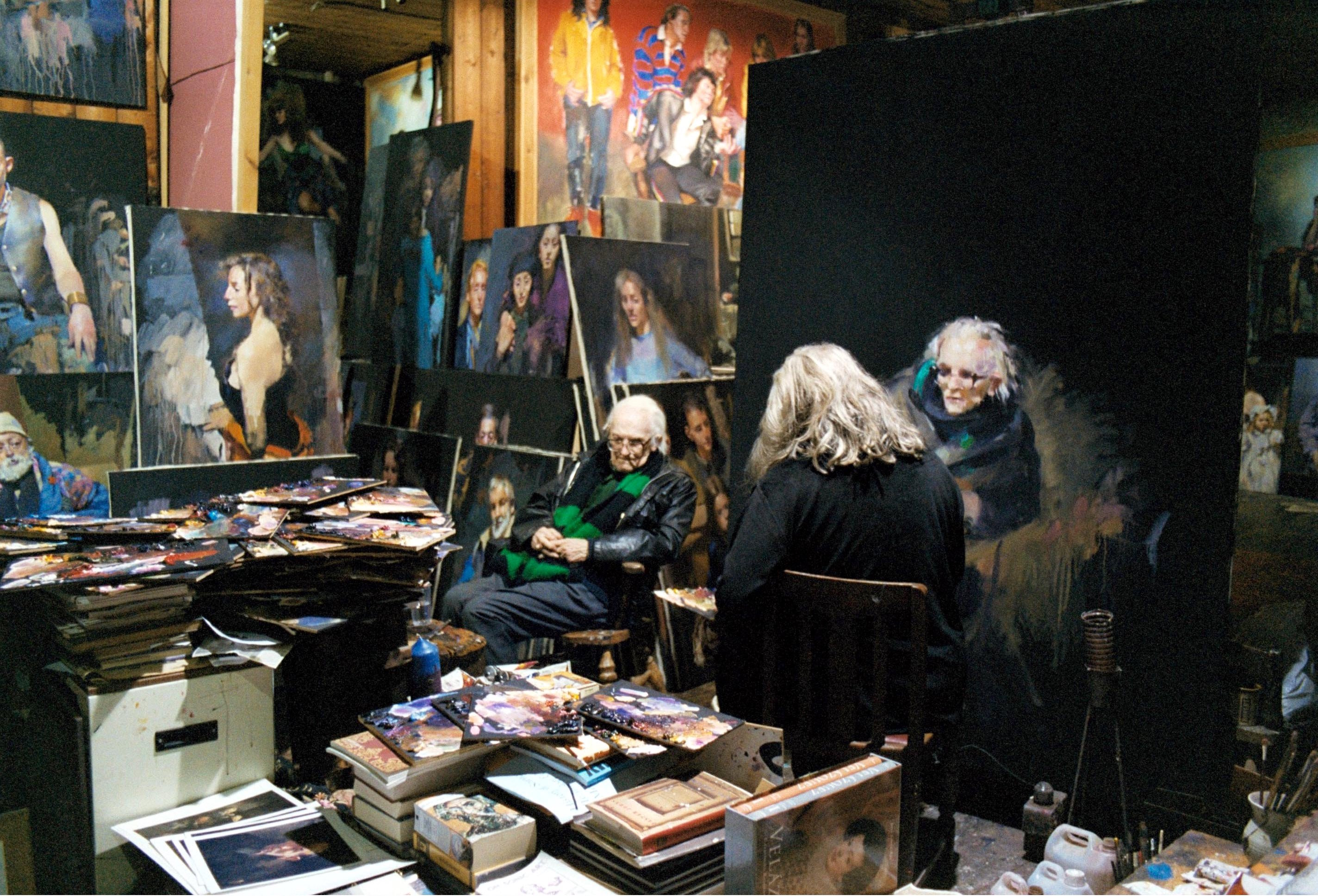 MICHAEL FOOT AND ROBERT LENKIEWICZ MICHAEL FOOT BEING PAINTED BY ARTIST ROBERT LENKIEWICZ IN HIS PLYMOUTH STUDIO. May 15, 2001