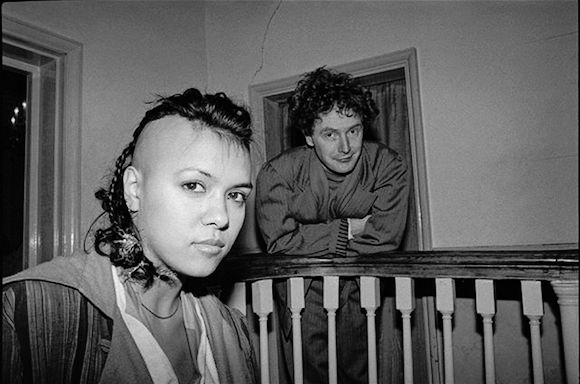 Bow Wow Wow singer Anabella L'win and manager Malcolm McLaren at L'Escargot restaurant in Greek Street, Soho, immediately prior to the group signing with RCA Records, 1981
