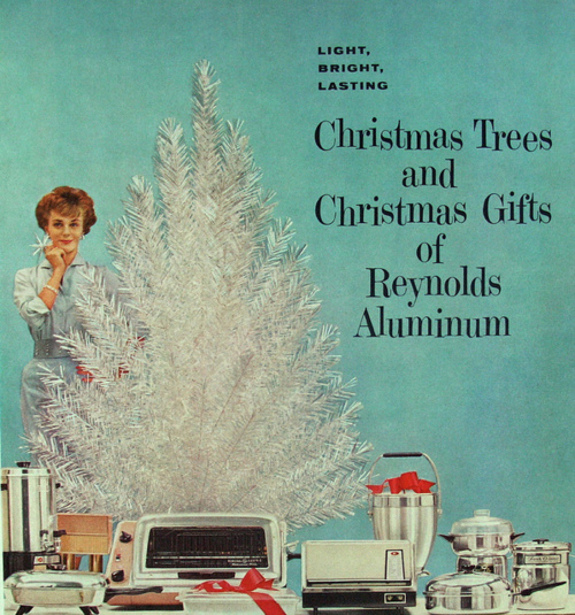woman Christmas tree 1950s 1960s aluminum aluminium