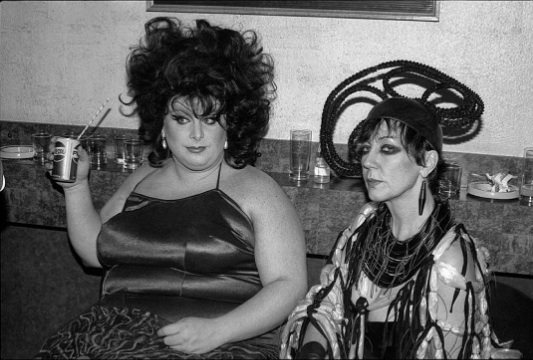 Divine and Molly Parkin, 1980. Taken at the London premiere of 'The Alternative Miss World' at The Gate Cinema in Notting Hill.