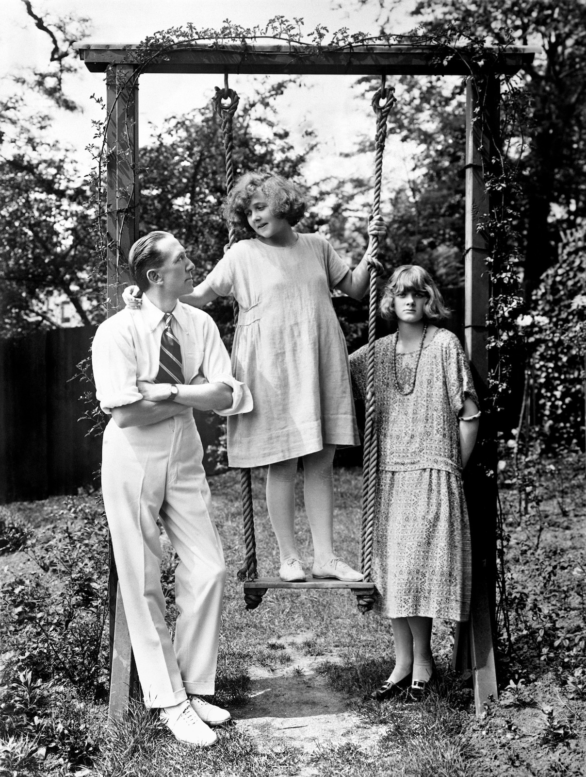 Gerald de Maurier, at Cannon Hall, Hampstead, with his two daughters, Jeanne and Daphne at about the time Tallulah was appearing with Gerald in The Dancers.