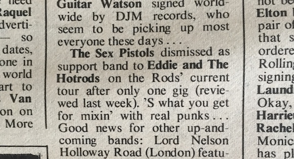 The Marquee. Sex Pistols, NME, February 21, 1976