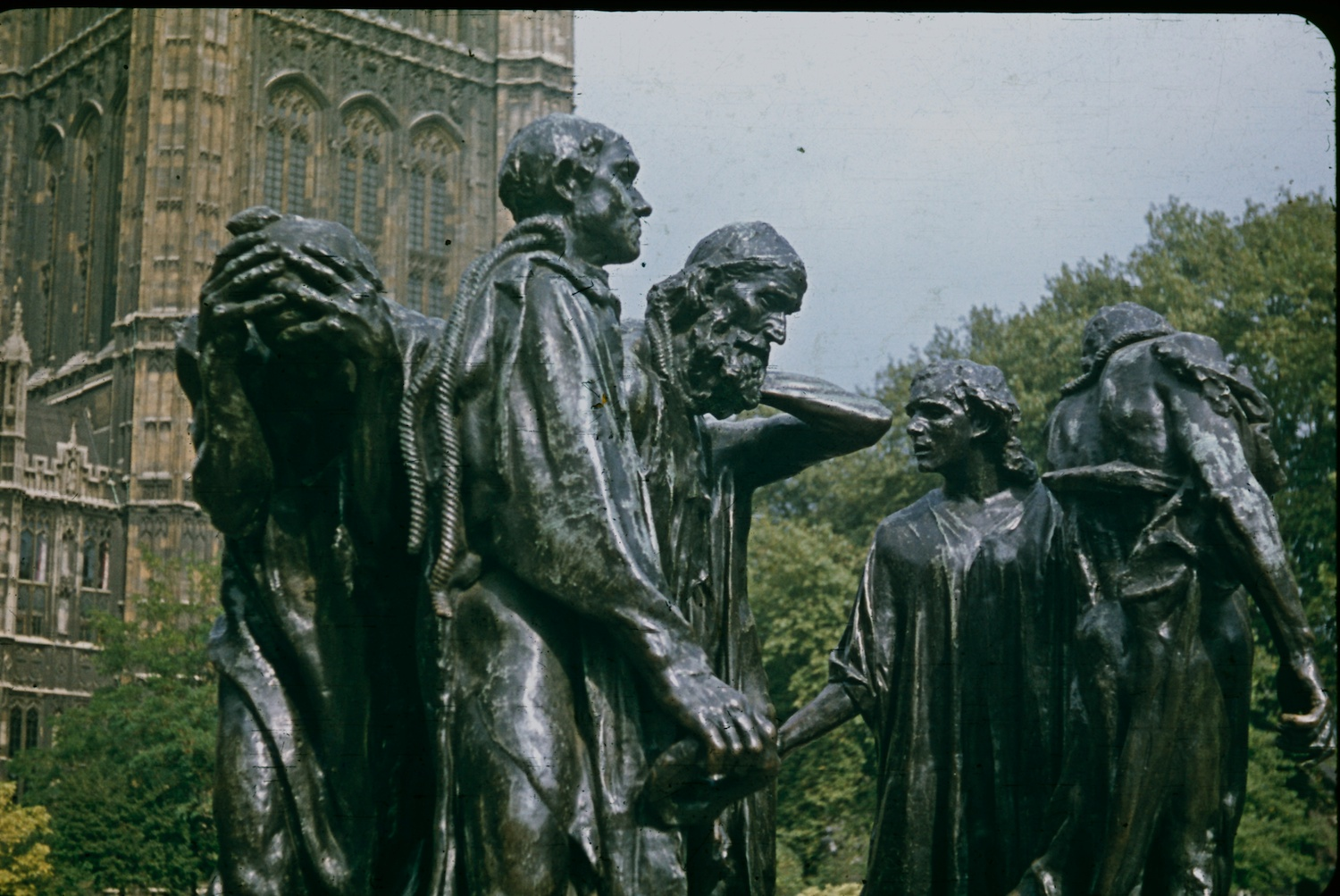 London 1970 Parliament Burghers of Calais statue by Auguste Rodin