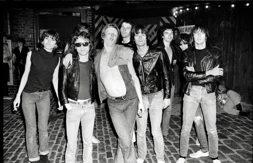 London, The Ramones, 1976, Outside Dingwalls, where the Ramones also played that night. Chrissie Hynde, the Ramones and members of the Damned – (left to right) Rat Scabies Captain Sensible, Brian James.