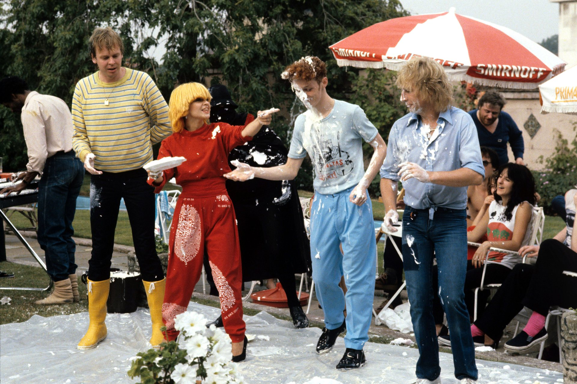 Tiswas Rick Wakeman, Toyah Willcox, unknown and Rick Parfitt 1979