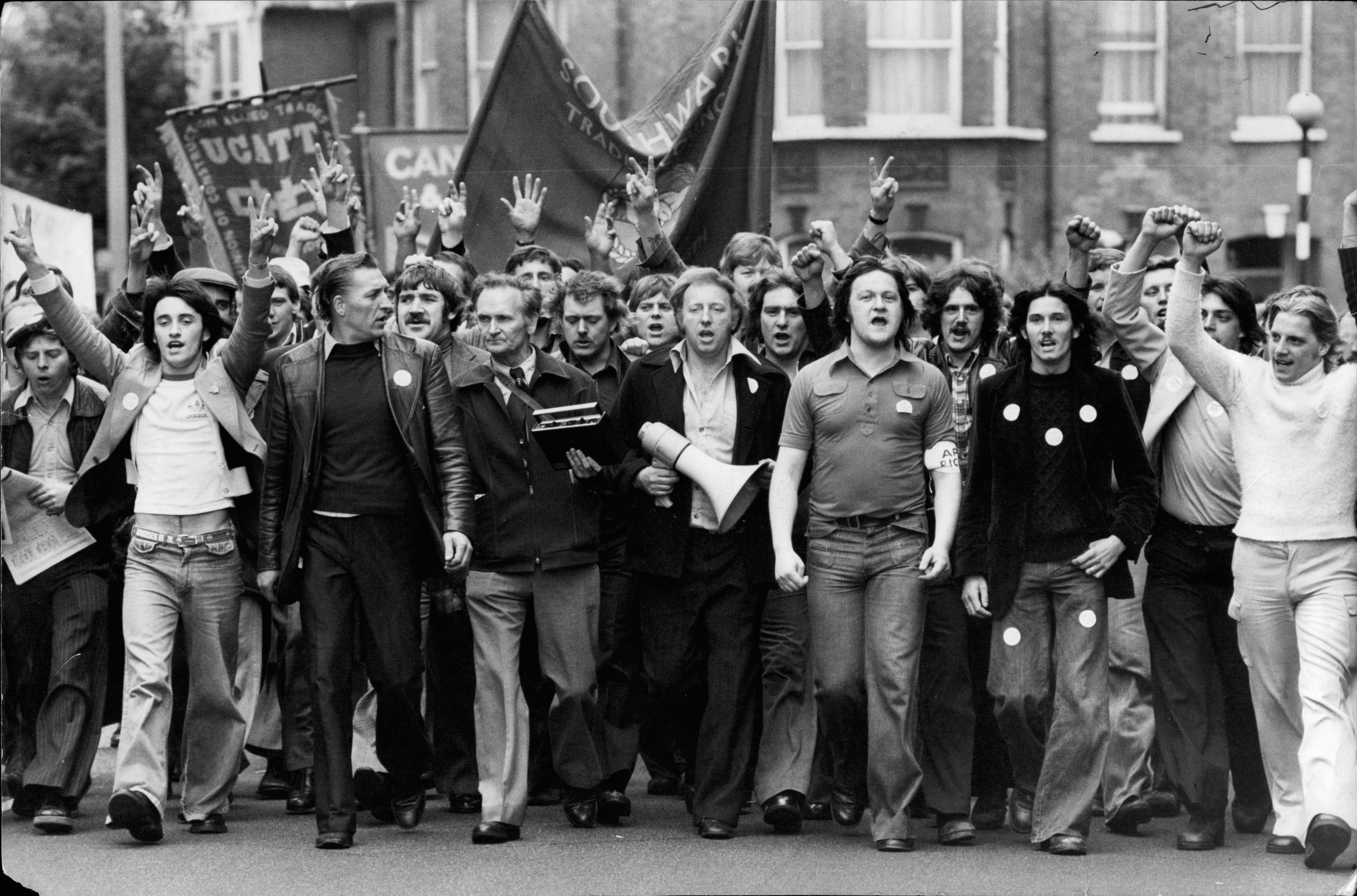 Arthur Scargill Leads The March Of Grunwick Film Studio Workers In London During Their Strike