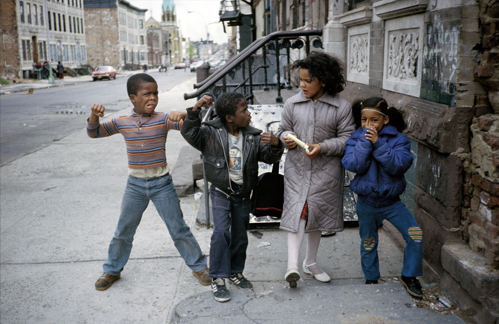 Muscle Boy and The Little Rascals of Palmetto Street. Bushwick, May 1982.