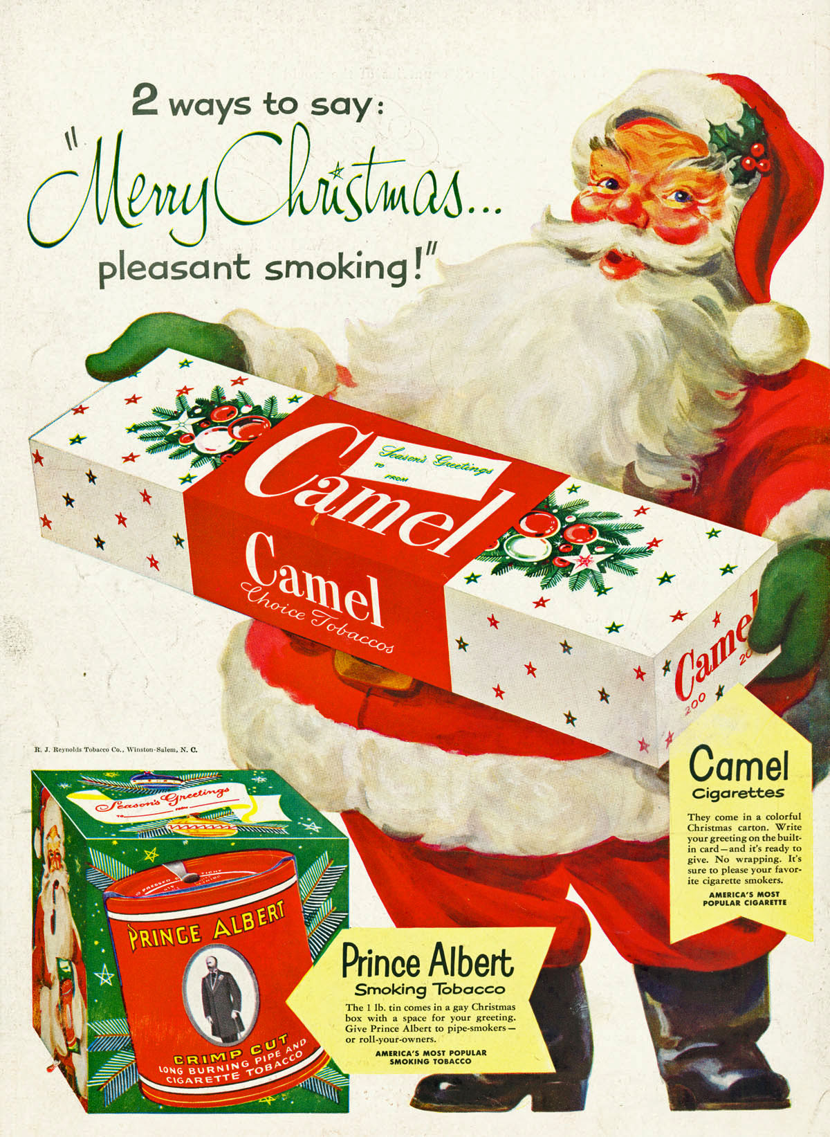Cigarettes From Santa Vintage Tobacco Christmas Advertising Flashbak