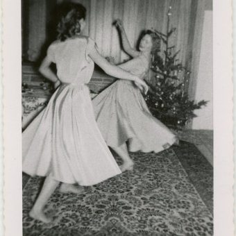 Mid-Century Women Enjoying Real Christmas Trees