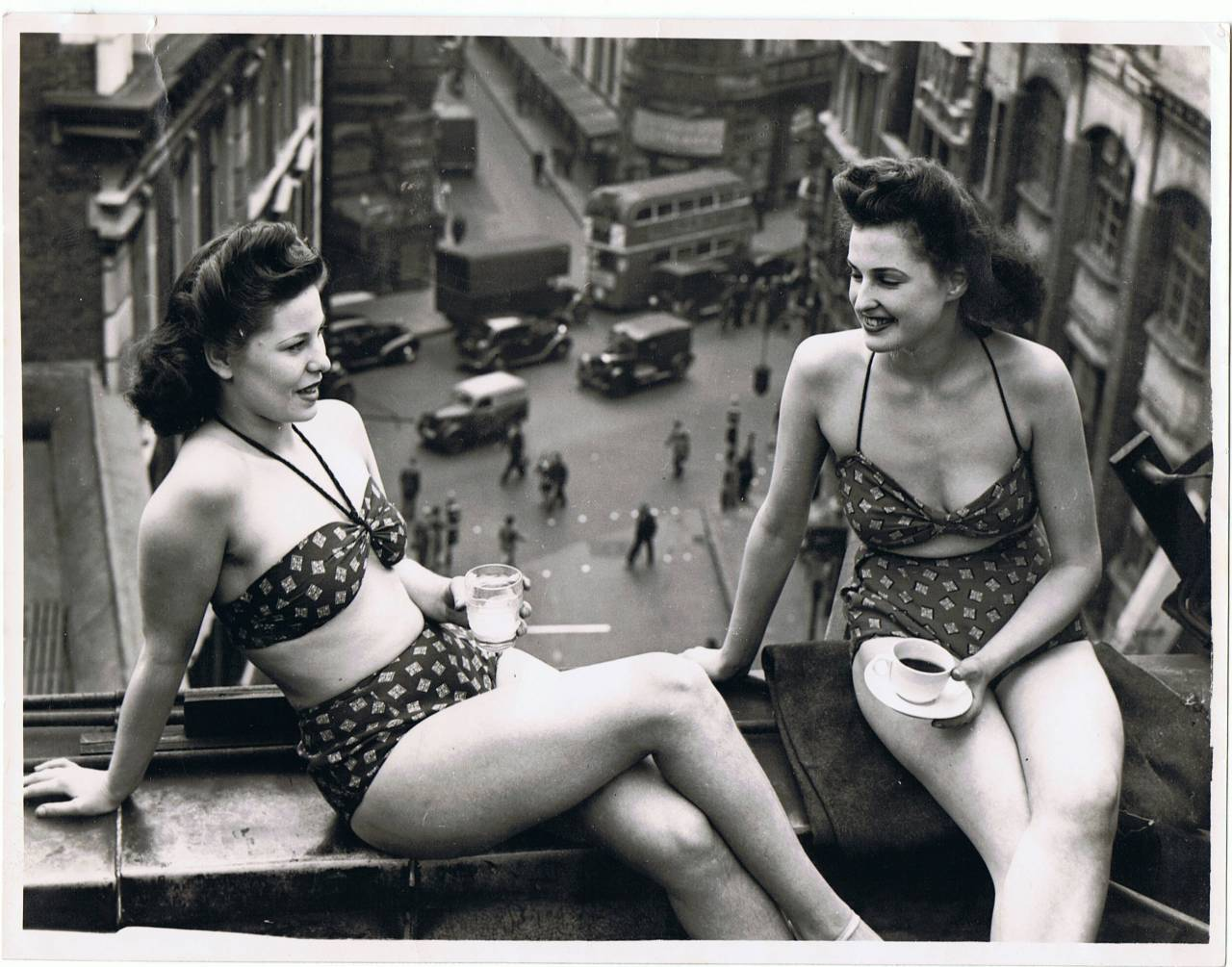 Doreen Lord and Beryl Catlin up on the roof of the Windmill c.1950