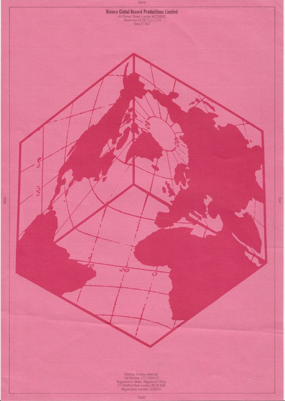 BB - Riviera Global letterhead 580 //A4 letterhead, Barney Bubbles, 1978. No reproduction without permission