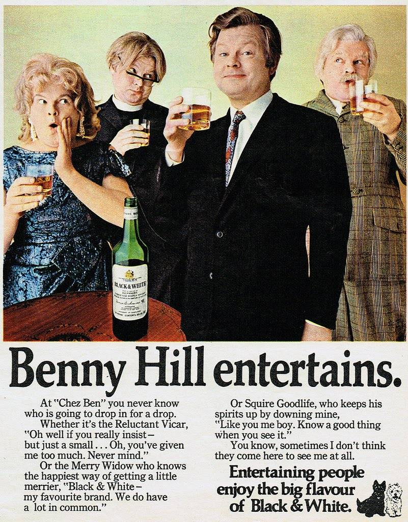 Benny advertising Black and White whisky in 1971.
