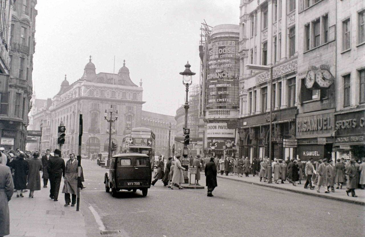 Coventry Street looking up to Piccadilly Circus Allan Hailston April 1956.