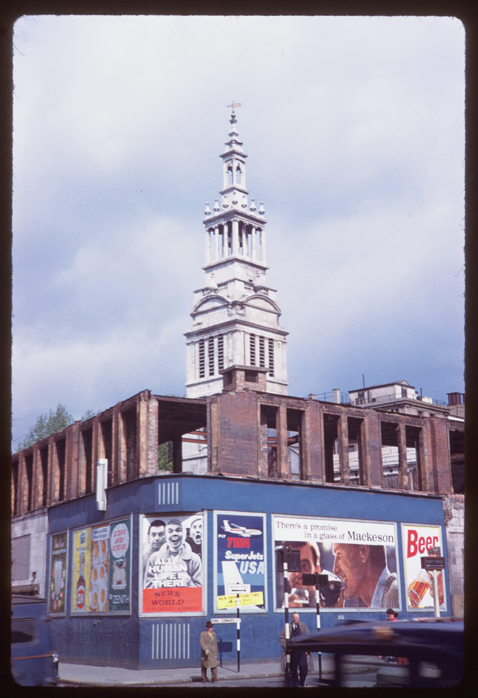 Date: May 2, 1961 Location: London, England, United Kingdom (Greater London county) Description: Grey friar's church