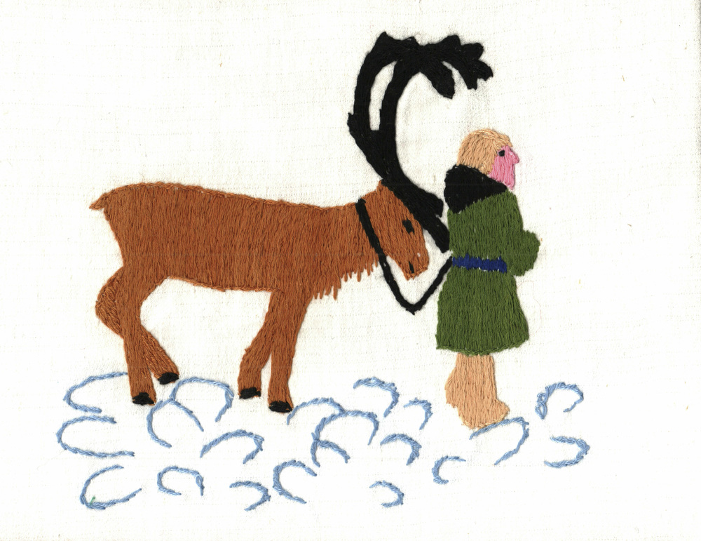 StudentÕs art work of a Nenets with a reindeer.