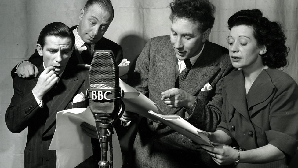 Frankie Howerd with Normal Wisdom (far left) in 'Fine Goings On', BBC series in 1951.