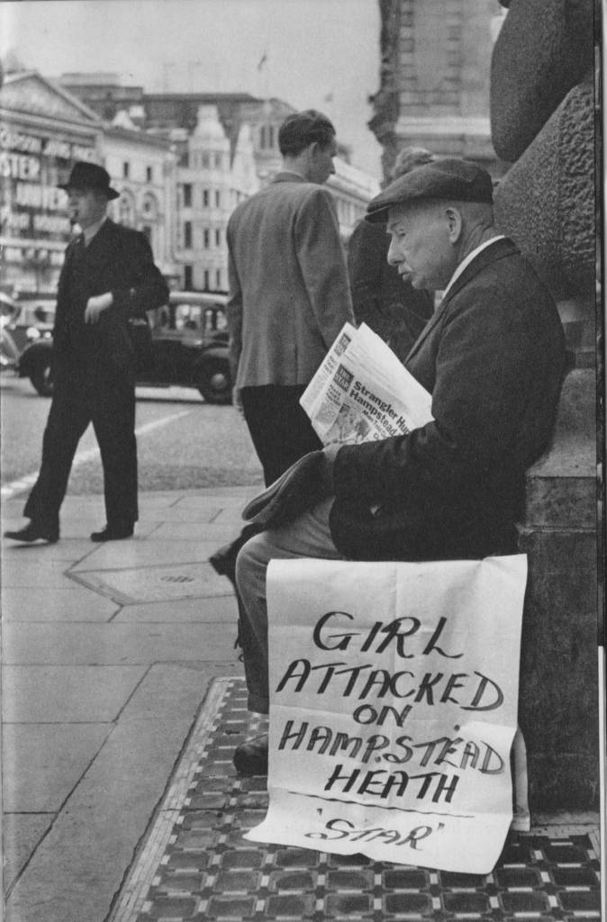 George Tippins newspaper seller Piccadilly 1955, by Cas Oorthuys.