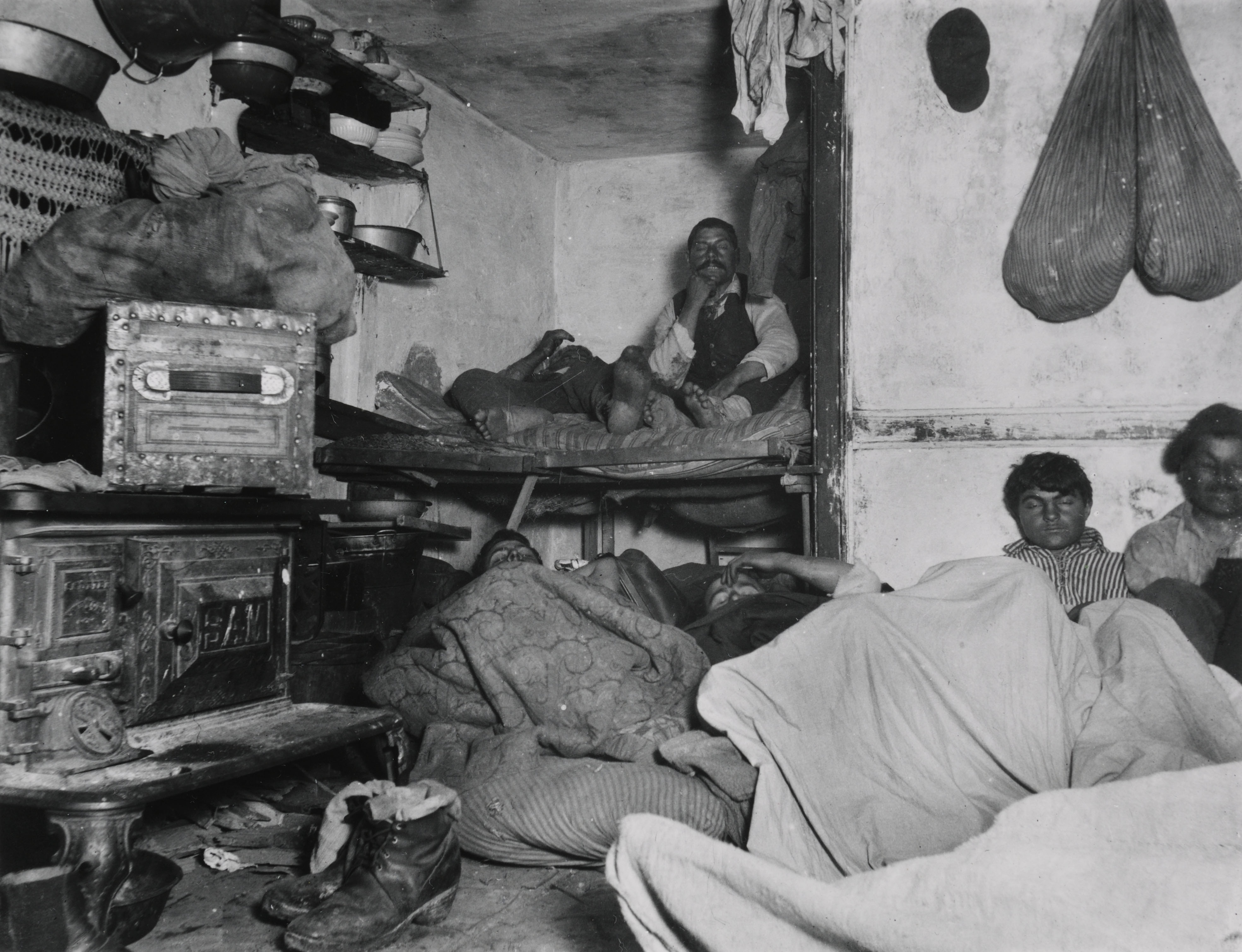"New York Jacob Riis, ""Lodgers in a Crowded Bayard Street Tenement--'Five Cents a Spot'"""