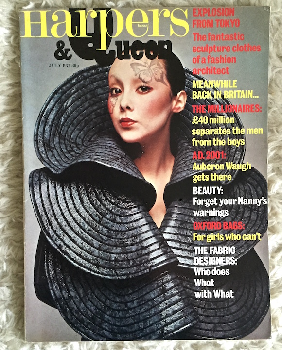 Kansai on the cover of Harpers & Queen, July 1971. Model: Marie Helvin. Photography: Hiroshi. Butterfly make-up Sachiko Shibayama. Paul Gorman Archive