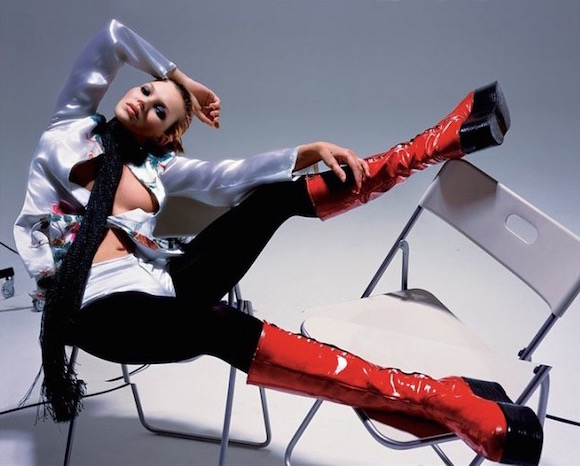 Kate Moss in Bowie's Kansai boots photographed by Nick Knight for British Vogue in 2003