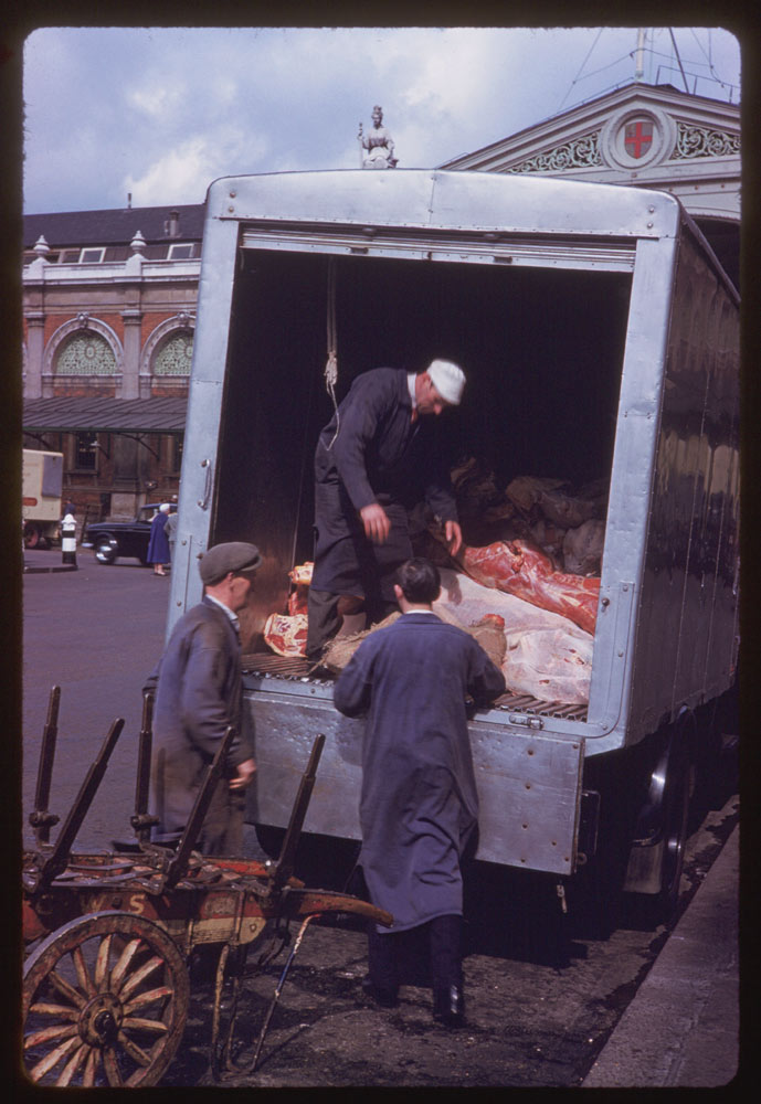 Date: May 2, 1961 Location: London, England, United Kingdom (Greater London county) Description: New Zeeland lamb at Smithfield Market