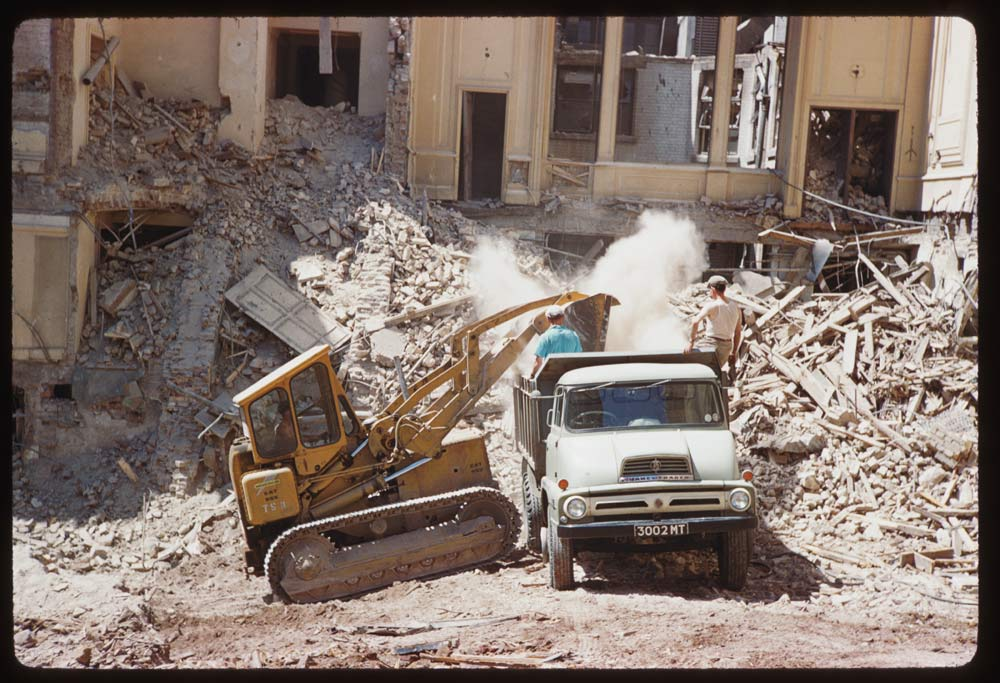 Date: Jun. 25, 1961 Location: London, England, United Kingdom (Greater London county) Description: Army and Navy Club being demolished on Sunday- S.W. corner of St. James' Square