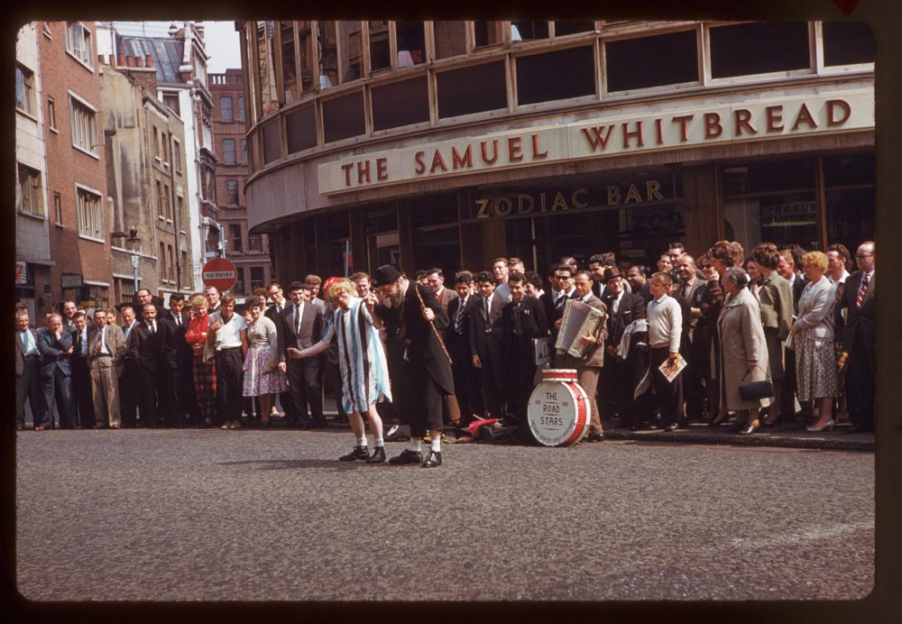 Date: May 14, 1961 Location: London, England, United Kingdom (Greater London county) Description: Other buskers off Leicester Sq.